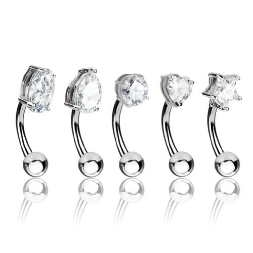 5 Pack of Assorted Shape Eyebrow Bars with Clear Gems
